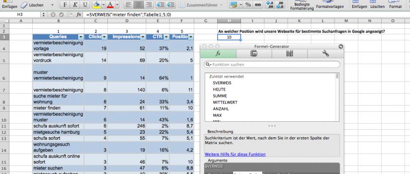 Excel SVerweis Funktion für den Mac
