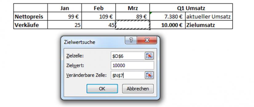 Zielwertsuche in Excel - excellytics.de