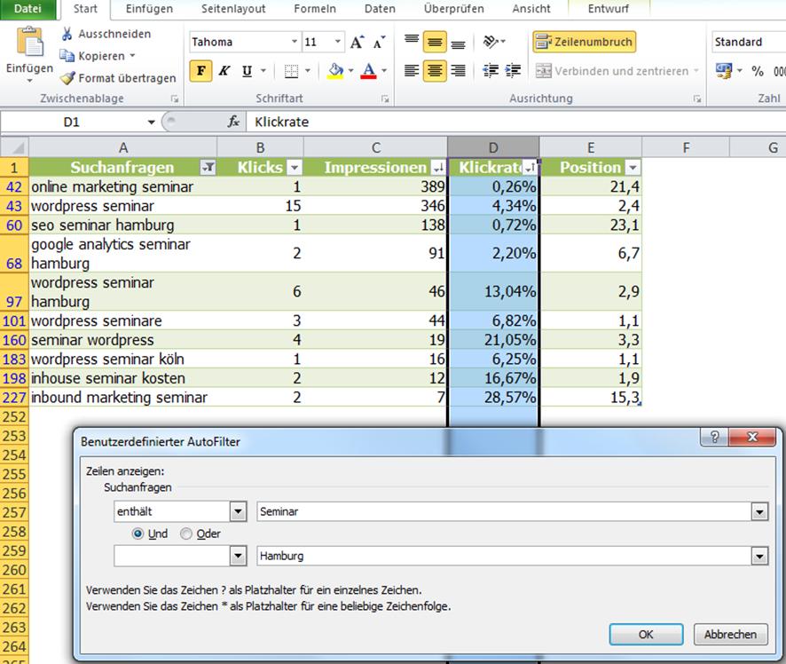 Excel tabelle formatieren textfilter