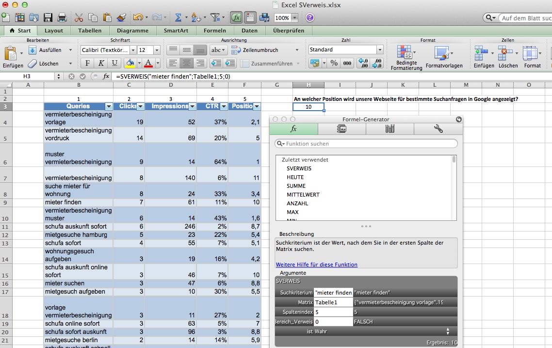 Die Excel SVerweis Funktion findet exakte Werte in Tabellen