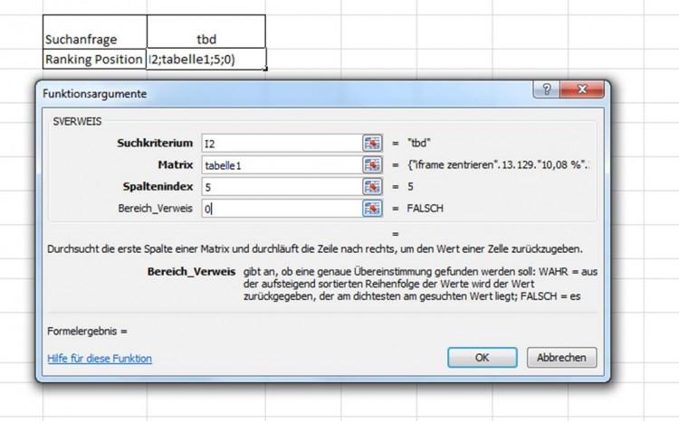 Excel SVerweis Hilftabelle
