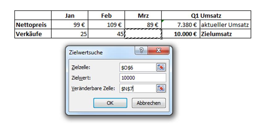 Zielwertsuche in Excel