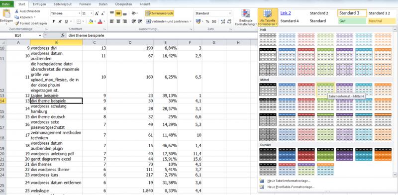Excel tabellen formatieren