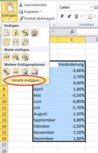 Inhalte einfügen Excel