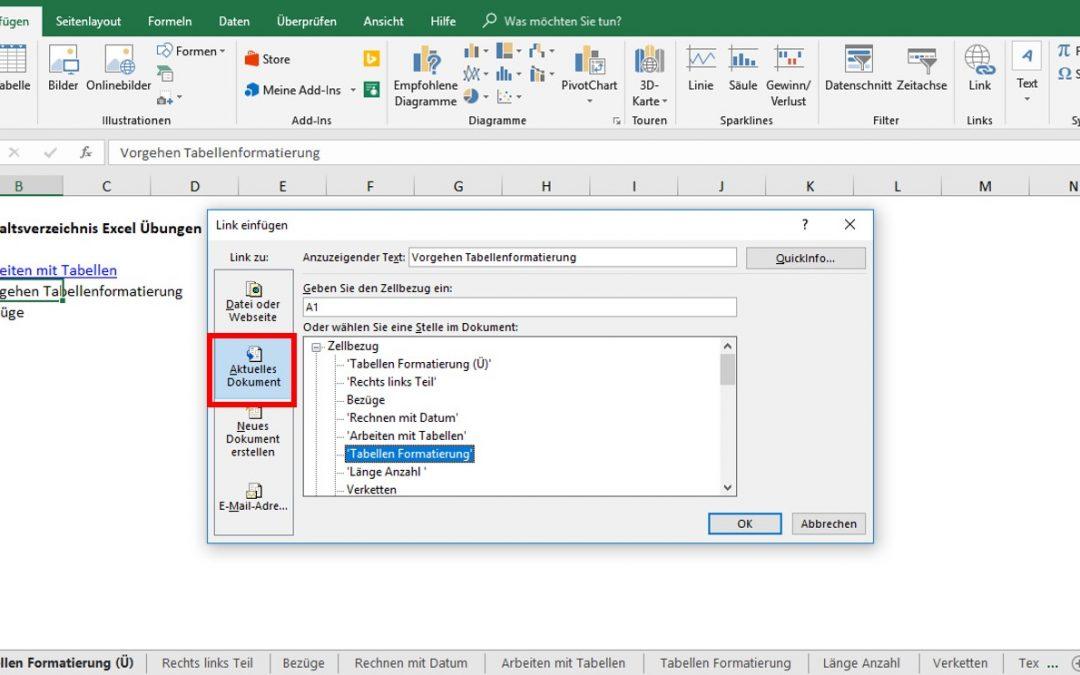 Inhaltsverzeichnis Excel mit Links zu Tabellenblättern erstellen